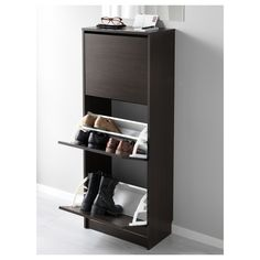 """BISSA Shoe cabinet with 3 compartments, black, brown, 19 1/4x53 1/8"""" - IKEA Shoe Storage Cabinet, Closet Storage, Storage Cabinets, Tv Cabinets, Hemnes, Ikea Bissa, Shallow Cabinets, How To Store Shoes, Closet Bedroom"""