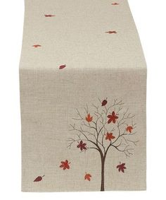 Love this Fall Tree Embroidered Table Runner on