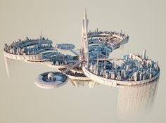 Key visuals for DreamState Los Angeles & San Francisco Fantasy City, Fantasy Places, Fantasy World, Fantasy Art Landscapes, Fantasy Landscape, Futuristic City, Futuristic Architecture, Sci Fi City, Spaceship Art