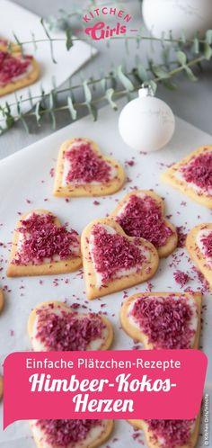 Le de La de Plàtzchen Rezept f'r Himbeer-Kokos-Herzen … – Collations de Noël Easy Smoothie Recipes, Easy Cookie Recipes, Cookie Desserts, Baking Recipes, Snack Recipes, Dessert Recipes, Snacks, Baking Cookies, Easy Recipes