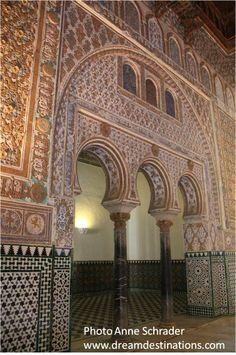 Arches in the Embassadors Hall Royal Alcazar, Seville Spain Alcazar Seville, European River Cruises, Seville Spain, Famous Landmarks, Caribbean Cruise, Vacation Packages, Moorish, Andalucia, Cruise Vacation
