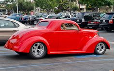 1937 Ford 3 window coupe - mod - red