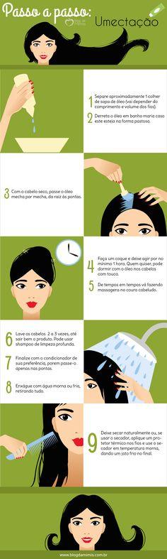 umectação dos cabelos