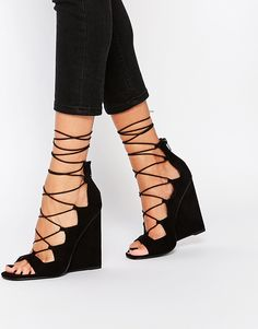ASOS HOMEGIRL Lace Up Wedges, sleek shoes to transition from work to the evening