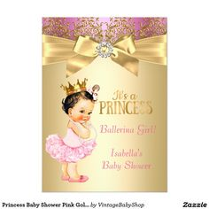 gold white pearl princess baby shower ethnic card | juju's shower, Baby shower invitations