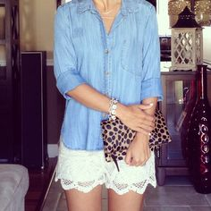 Chambray and lace shorts. Clair v leopard clutch.