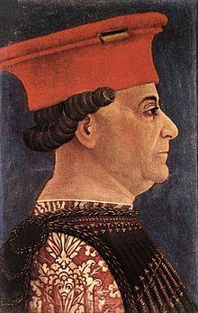 Francesco I Sforza 1401–  1466 was an Italian condottiero.  He one of the seven illegitimate sons of the condottiero Muzio Attendolo Sforza.