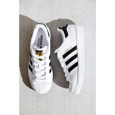 adidas Originals Superstar Sneaker ($80) ❤ liked on Polyvore featuring shoes, sneakers, black multi, black shoes, adidas footwear, stripe shoes, black sneakers and adidas trainers
