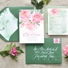 """Brides.com: 24 Watercolor Wedding Invitations. """"Coral Charm"""" watercolor wedding invitation suite, price available upon request, Julie Song Ink"""