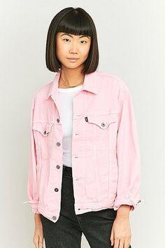 Urban Renewal Vintage Customised Overdyed Pink Denim Jacket