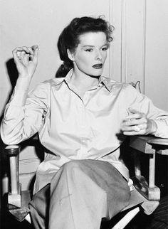 Katharine Hepburn on the set of Undercurrent (1946)