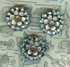Victorian metal with blue glass buttons