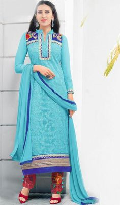 The Karishma Kapoor Collection:atisundar classy Sky Blue Embroidered Chain Stitch Lakhnavi Work Straight Cut Suit In Net And Faux Georgette With Printed Bottom - 10047