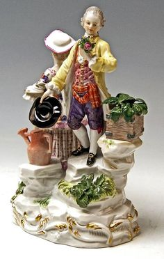 Meissen Gorgeous Figurines Gallant Gardeners with Watering Can by Acier c. 1880 3