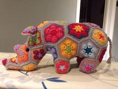 Rhino made from Heidi Bears African flower pattern