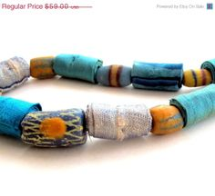On Sale Ooak statement fiber necklace in turquoise silk cotton and glass
