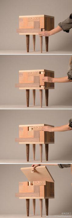 【创意家居】隐藏式储物凳 HIDE ——斯德哥尔摩设计学院学生 Tove Greitz 带来的一款日常小木凳。虽然储存杂物是附加功能,但做得一点也不马糊,设计师将解谜类的移动方块游戏融入其中,要打开柜子你就得先动动手、动动脑 。虽然谜底很简单,但挡挡家里的熊孩子也足够了。via:http://t.cn/zYnPJTZ - 堆糖 发现生活_收集美好_分享图片