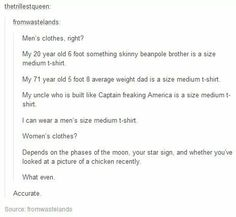 Clothing sizes.