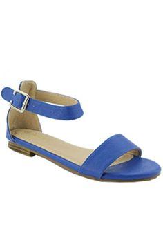 """Jovie"" Ankle Strap Flat Sandals - Royal Blue"