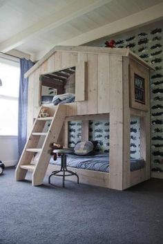Bauholz Hochbett Landhausstil Kura Bed, Bunk Beds, Woodworking Furniture, Country Style, Kids Bedroom, Wood Crafts, Wood Projects, Decoration, New Homes