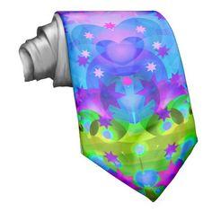 Purple and Green Kaleidoscope Fractal Neck Ties