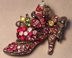 Pink Purple Swarovski Crystal Victorian Shoe Pin Brooch