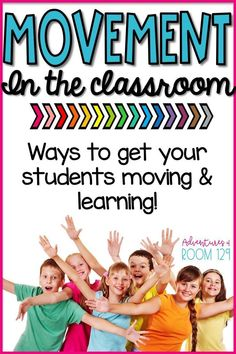 Make learning fun & get students up & moving in the classroom. These student engagement strategies are perfect for elementary students. This post has tools, tips, & tricks to get movement in the classroom. Teachers love these activities because they can Classroom Routines, Classroom Management Strategies, Classroom Activities, Music Activities, Classroom Ideas, Differentiation Strategies, Teaching Activities, Motor Activities, Math Resources
