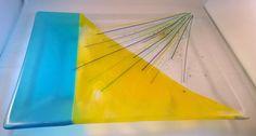 Iridescent Turquoise and Yellow Fused Glass by LailiBugStudio