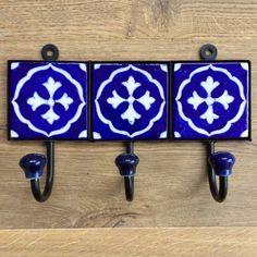 Indian Ceramic Tile Coat Robe Hooks With Cross