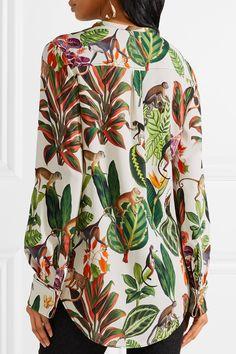 a06a110a6f2f8f Oscar de la Renta - Pussy-bow printed silk-blend blouse