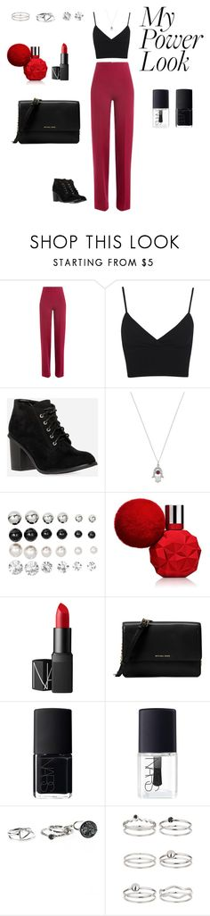"""""""MyPowerLook"""" by bothma ❤ liked on Polyvore featuring Emilia Wickstead, Miss Selfridge, DailyLook, London Road, H&M, NARS Cosmetics, Michael Kors, red, necklace and nail"""