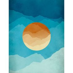 Mid Century Art Print, Modern Wall Art, Abstract Landscape Print,... ❤ liked on Polyvore featuring home, home decor, wall art, orange home accessories, blue home accessories, blue home decor, orange wall art and mountain home decor