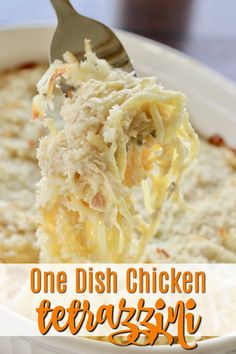 Looking for chicken recipes, casserole ideas for weeknight dinner recipes? This one dish chicken bake is easy and delicious! One Dish Dinners, Dinner Dishes, Food Dishes, Dinner Recipes, Chicken Dishes For Dinner, Dinner Meal, Chicken Tetrazzini Casserole, Chicken Tetrazzini Recipes, Turkey Tetrazzini