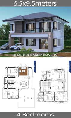 House Ideas with 4 bedroomsHouse description:Ground Level: One bedroom, One car parking, Living room, Dining room, Kitchen Two Storey House Plans, 2 Storey House Design, Small House Floor Plans, Duplex House Design, Family House Plans, Classic House Design, Simple House Design, Modern House Design, House Layout Plans