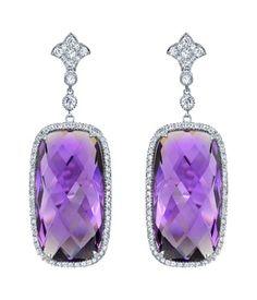 Neil Lane amethyst, diamond and platinum earrings