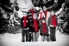 great idea! and it reminds me of the xmas card we did when I was pregnant with George--black and white with red Santa hats...