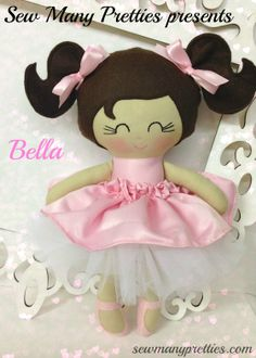 $45.00 This is a 15 inch Doll that is part of the Dressy Doll collection from Sew Many Pretties.  This cutie is handmade from high quality fabrics and wool blend felt for her hair and pigtails. Facial features are hand embroidered. Ribbon hair bows are securely sewn.  Her top satin skirt is removabl...