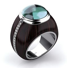 'Madagascar ebony' ring with tourmaline and diamonds in ebony wood with white gold from Markin Fine Jewellery's Wood Collection