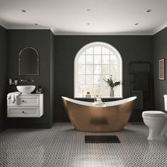 Heritage Hylton Acrylic Double Ended Slipper Bath - Copper Effect Open Bathroom, Large Bathrooms, Bathroom Ideas, Bathroom Store, Bathroom Goals, Bathroom Trends, Family Bathroom, Downstairs Bathroom, Bathroom Inspo