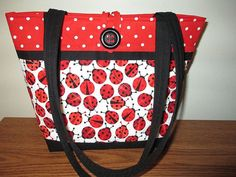 Quilted Ladybug Purse/Tote by CutePurseNalities on Etsy
