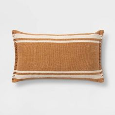 Wool/Cotton Woven Stripe Oversize Lumbar Throw Pillow With Whipstitch Trim - Threshold™ : Target Bed Rest Pillow, Lumbar Throw Pillow, Throw Pillows, Cushion Cover Pattern, Cushion Covers, Oversized Pillows, Velvet Pillows, E Design, Cover Design