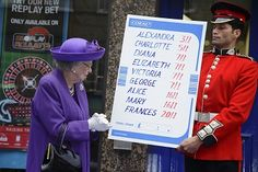 The Queen checks out odds for the Royal Baby name at Coral bookmakers. Get more details at LatestBettingOffers.com