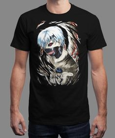 """Kaneki"" is today's £8/€10/$12 tee for 24 hours only on www.Qwertee.com Pin this for a chance to win a FREE TEE this weekend. Follow us on pinterest.com/qwertee for a second! Thanks:)"
