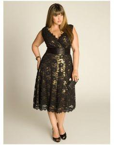 Vestido de encaje con fondo dorado para Tallas Grandes
