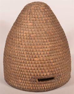 Rational Vintage Primitive Swarm Hive Gathering Basket Decorative Arts Antiques