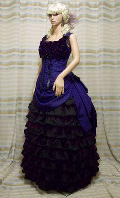 ♥ CUSTOM MADE Violacé Victorian Steampunk Taffeta Dress Gown Bustle Ensemble ♥