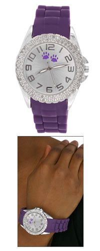 Purple Paw Double Rhinestone Silicone Watch at The Animal Rescue Site