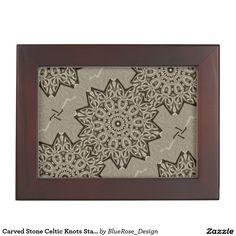 Shop Carved Stone Celtic Knots Star Keepsake Box created by BlueRose_Design. Wooden Keepsake Box, Keepsake Boxes, Mahogany Color, Celtic Knots, Stone Carving, Black Velvet, Colorful Backgrounds, Tapestry, Stars