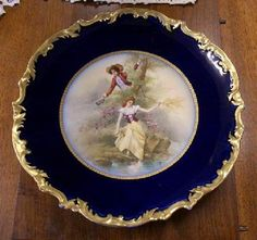 LARGE DEEP COBALT BLUE LIMOGES WILLIAM GUERIN, ARTIST SIGNED CHARGER - CIRCA 1900 : $595.00 USD