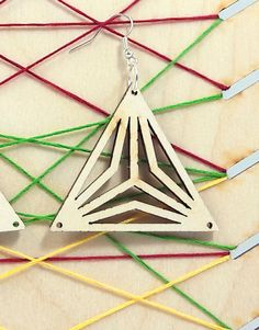 Triangles wooden earring - jewelry - laser cut - light weight - bridal earrings - for woman - fashion - rings - pairs - laser art - plywood Bridal Earrings, Women's Earrings, Laser Art, Wooden Earrings, Woman Fashion, Triangles, Laser Cutting, Plywood, Fashion Rings